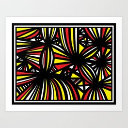 Rail Abstract Expression Yellow Red Art Print