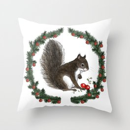 Grey Squirrel in Holiday Wreath Throw Pillow
