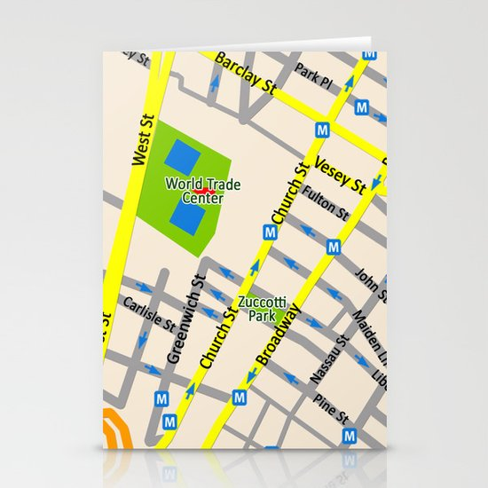 NEW YORK map design Stationery Cards