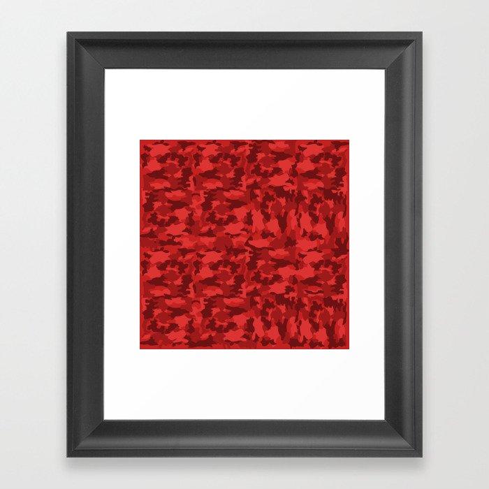 Red Background Camouflage Pattern Gerahmter Kunstdruck