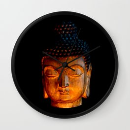 A Buddhist Statue in a Zen Moment in Candlelight Wall Clock