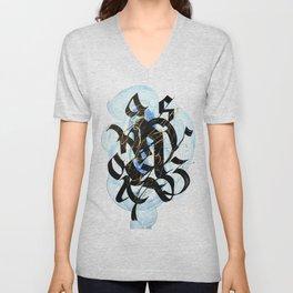 Abstract Calligraphy artwork. Black letters on blue brush strokes. Unisex V-Neck