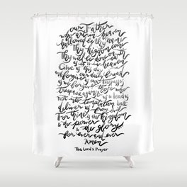 The Lord's Prayer - BW Shower Curtain