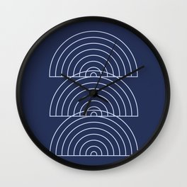 Geometric Lines in Navy Blue Wall Clock