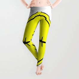 Barbed Wire Warning Sign Leggings
