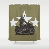 military Shower Curtains featuring Military Harley by Ernie Young