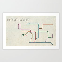 Minimal Hong Kong Subway Map Art Print