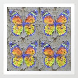 SHABBY CHIC YELLOW & BLUE BUTTERFLIES Art Print