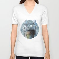 toothless V-neck T-shirts featuring Toothless by Luke Jonathon Fielding