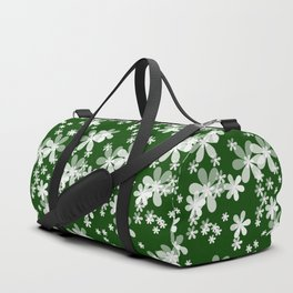 White flowers green background kids Duffle Bag
