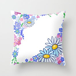 Frame from abstract flowers Throw Pillow