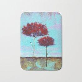 Cherished, Landscape Skinny Red Trees Bath Mat