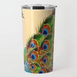 BLUE PEACOCK CREAM COLOR ART Travel Mug
