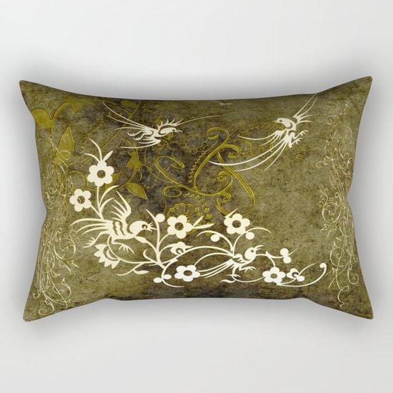 Fantasy birds with flowers Rectangular Pillow