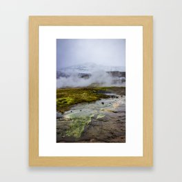 Colorful Mineral Deposits at a Geyser at Strokker Geysir Field in the Golden Circle of Iceland Framed Art Print