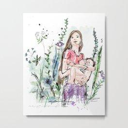 Natural Breastfeeding Metal Print