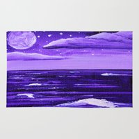 moonrise Area & Throw Rugs featuring Purple Moonrise by Aries Art