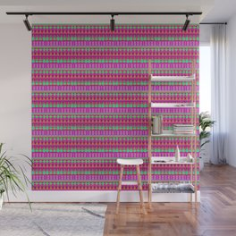 Aztec Tribal Motif Pattern in Pink, Lime and Fuchsia Wall Mural