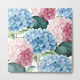 Pink Blue Hydrangea Metal Print