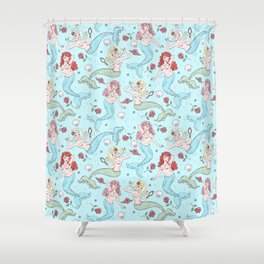 Mermaids and Roses on Aqua Shower Curtain