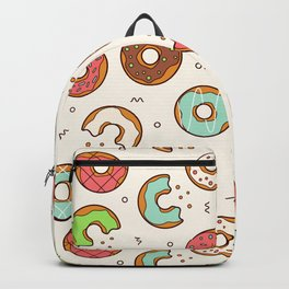 Retro Donut Pattern Cute Colorful Style Backpack