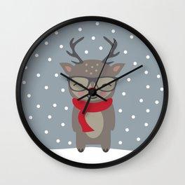 Merry Christmas Deer Wall Clock