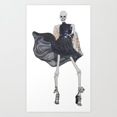 skeleton in leather & fur Art Print