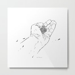 From me to you. My heart in your hands. The end of love...? Metal Print
