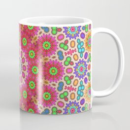 Brightly coloured kaleidoscope of abstract spring flowers Coffee Mug