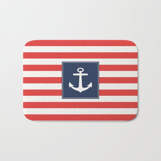 Anchor on red and white stripes Bath Mat