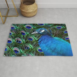 Blue Peacock and Feathers Rug