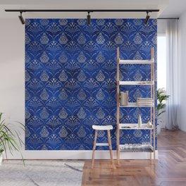 Hamsa Hand pattern -silver on blue glass Wall Mural