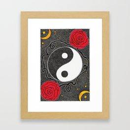 Yin Yang & Roses Framed Art Print