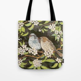 Sparrows in the Plum Tree Tote Bag