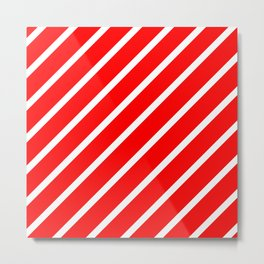 Diagonal lines - red and white. Metal Print
