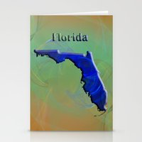 florida Stationery Cards featuring Florida Map by Roger Wedegis
