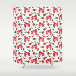 Little pretty swallows birds, sunny bright lovely juicy ripe oranges vintage retro red white pattern Shower Curtain