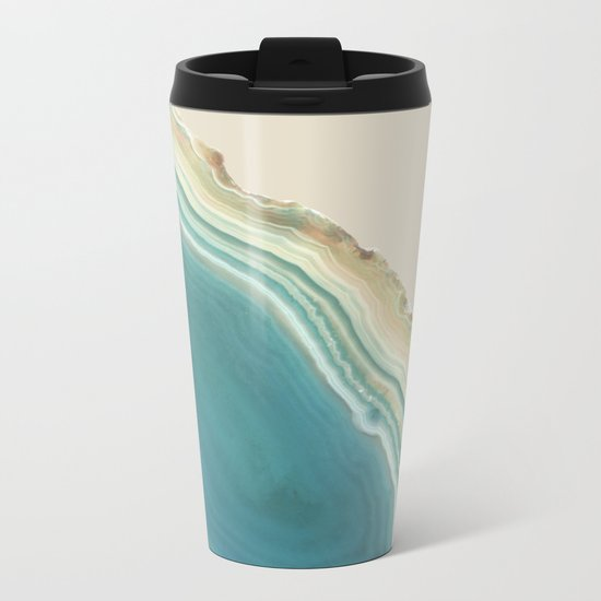 Geode Turquoise + Cream Metal Travel Mug
