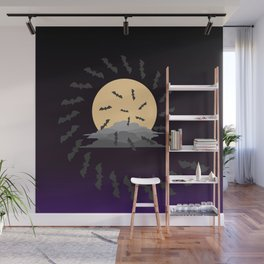 Bats and the Moon Wall Mural