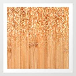 Sparkly natural bamboo wood print Art Print