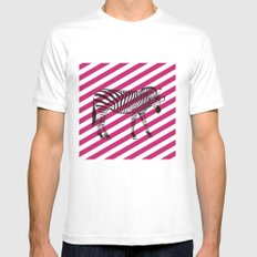 Nerd Zebra (Pink) Mens Fitted Tee White MEDIUM