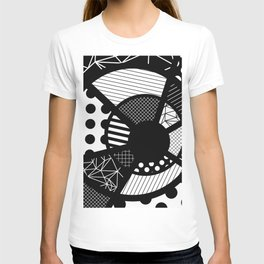 Twisted Web - Black And White, Patterned, Abstract Art T-shirt