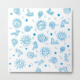 Doodle Drawing Seagulls Shells Sun - Blue White Metal Print
