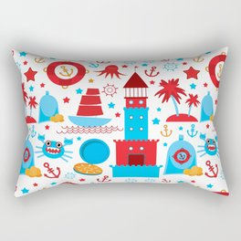 pattern with sea icons on white background. Seamless pattern. Red and blue Rectangular Pillow