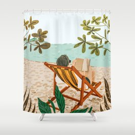 Vacay Book Club #illustration #tropical Shower Curtain
