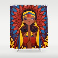 colombia Shower Curtains featuring FIFA 2014 Samba Girls Series: Colombia by Pweety Sexxay