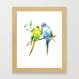 Budgies, Animal art, love, two birds bird artwork, bird pet Framed Art Print