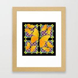 Golden Yellow Butterflies Pattern On Black Framed Art Print