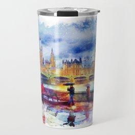 London Rain watercolor Travel Mug