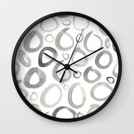 Watercolor O's - Grey Gray Wall Clock